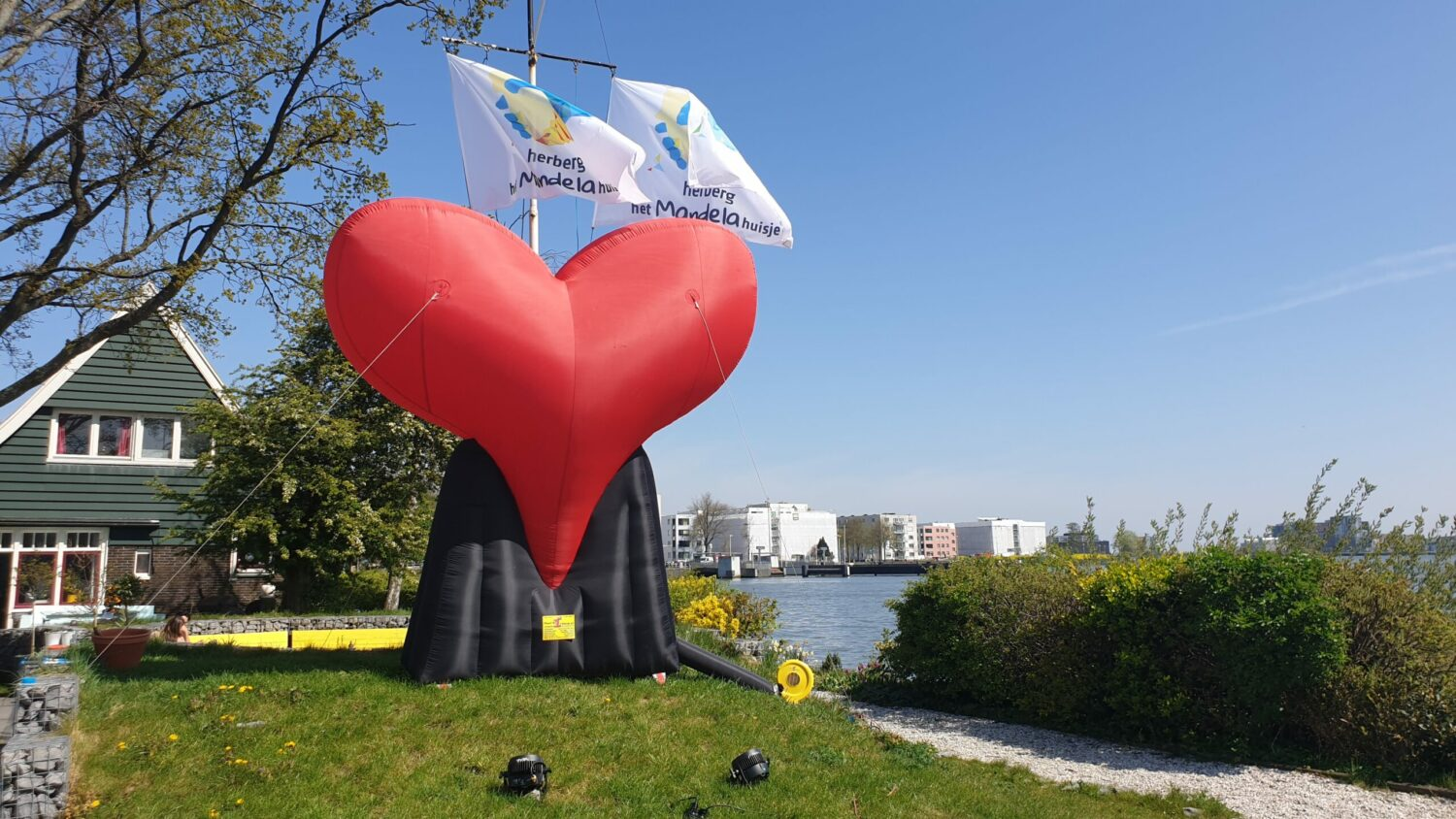 Five meter tall heart at the Mandela house
